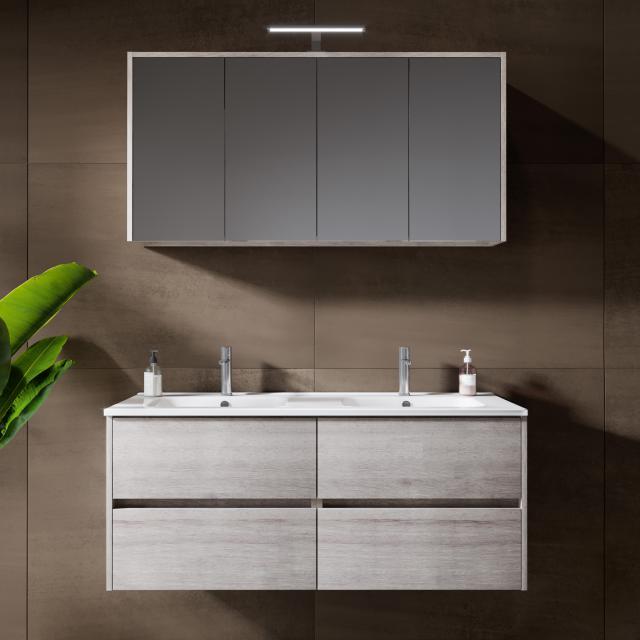 Riho Porto Square double washbasin with vanity unit and LED mirror cabinet front grey oak / corpus grey oak