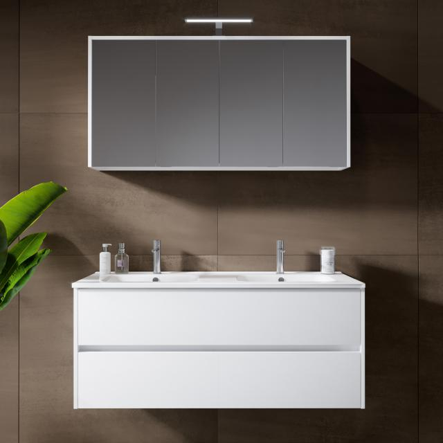 Riho Porto Square double washbasin with vanity unit and LED mirror cabinet front white high gloss / corpus white high gloss