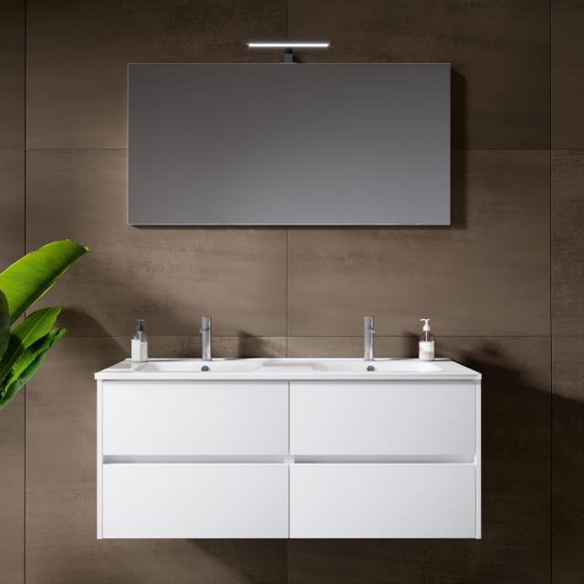 Riho Porto Square double washbasin with vanity unit and LED mirror front white high gloss / corpus white high gloss
