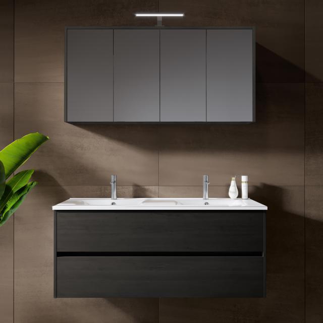 Riho Porto Wave double washbasin with vanity unit and LED mirror cabinet front dark grey oak / corpus dark grey oak
