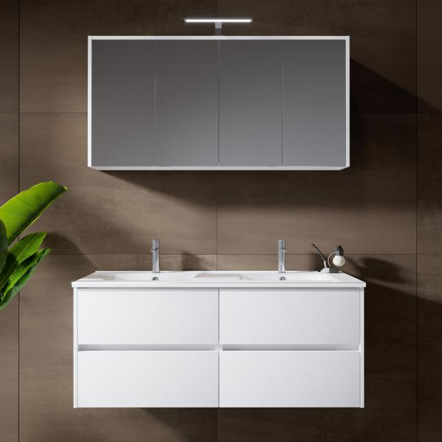 Riho Porto Wave double washbasin with vanity unit and LED mirror cabinet front white high gloss / corpus white high gloss