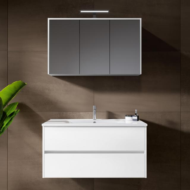Riho Porto Wave washbasin with vanity unit and LED mirror cabinet front white high gloss / corpus white high gloss