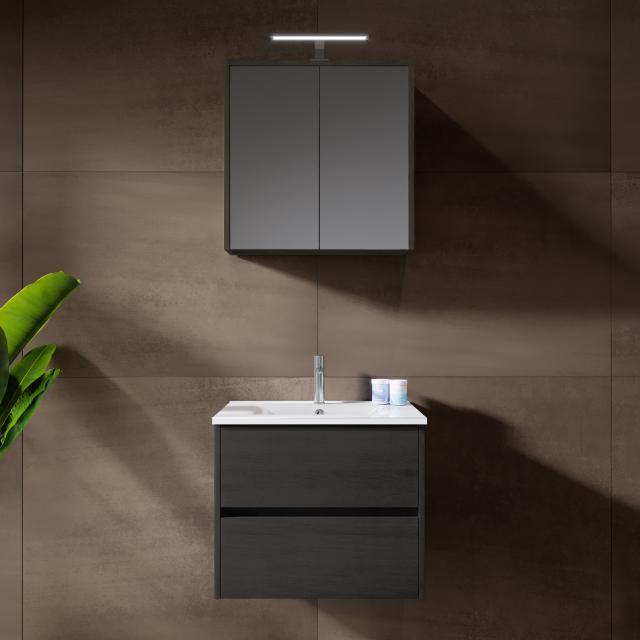 Riho Porto Wave washbasin with vanity unit and LED mirror cabinet front dark grey oak / corpus dark grey oak