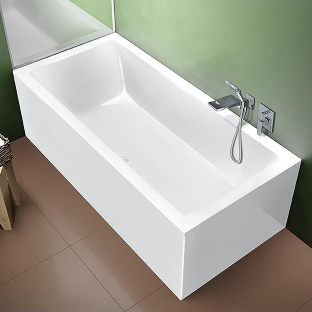 Riho Rethink Cubic rectangular bath with panelling white, without filling function