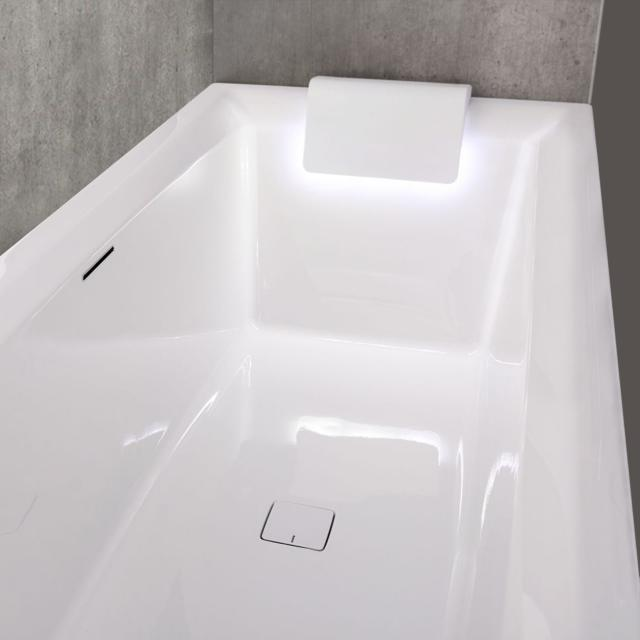 Riho Still Square rectangular bath with 2 headrests and LED lighting, built-in with filling function