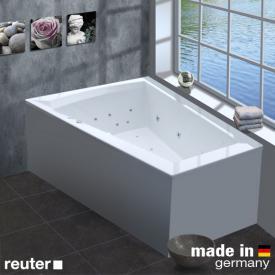 Reuter Kollektion Komfort Baignoire balnéo d'angle, avec système balnéo Premium avec garniture de vidage et de trop-plein et entrée d'eau