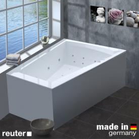Reuter Kollektion Komfort corner whirl bath right, with Premium whirl system with waste and overflow set