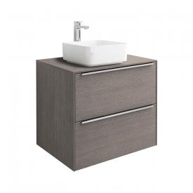 Roca Inspira countertop washbasin square with vanity unit with 2 pull-out compartments front city oak / corpus city oak