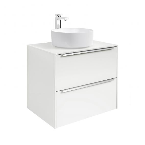 Roca Inspira countertop washbasin round with vanity unit with 2 pull-out compartments with MaxiClean, front white gloss / corpus white gloss