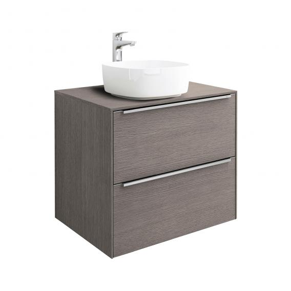 Roca Inspira countertop washbasin soft with vanity unit with 2 pull-out compartments front city oak / corpus city oak