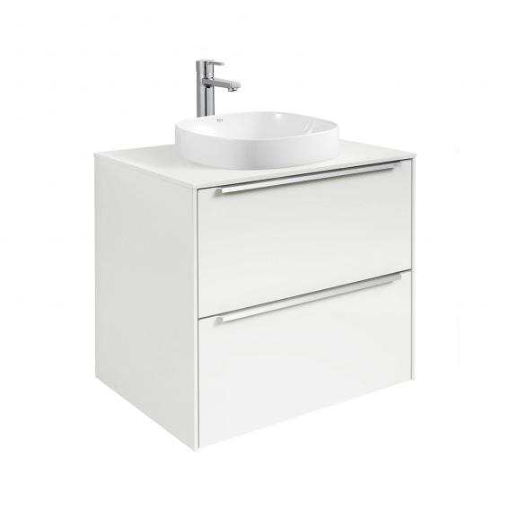 Roca Inspira semi-recessed washbasin soft with vanity unit with 2 pull-out compartments front white gloss / corpus white gloss