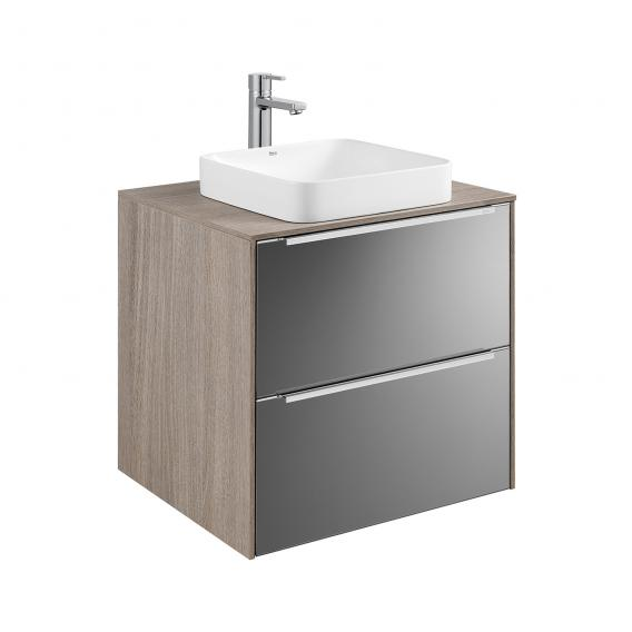 Roca Inspira semi-recessed washbasin square with vanity unit with 2 pull-out compartments front anthracite/mirrored / corpus city oak