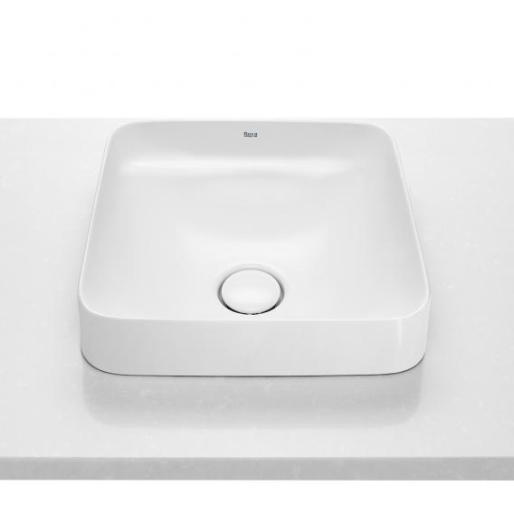 Roca Inspira semi-recessed washbowl, square white, with MaxiClean