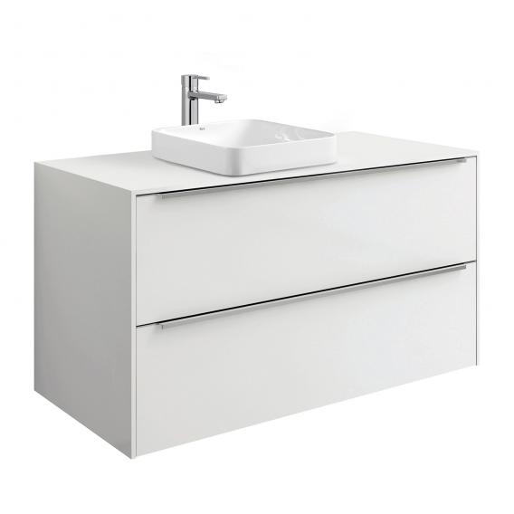 Roca Inspira vanity unit for semi-recessed washbasin with 2 pull-out compartments front white gloss / corpus white gloss