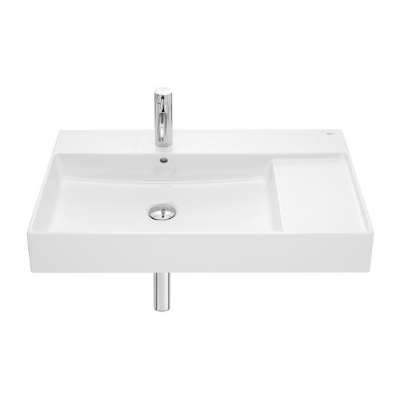 Roca Inspira washbasin with shelf surface right white, with MaxiClean