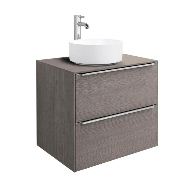 Roca Inspira countertop washbasin round with vanity unit with 2 pull-out compartments with MaxiClean, front city oak / corpus city oak