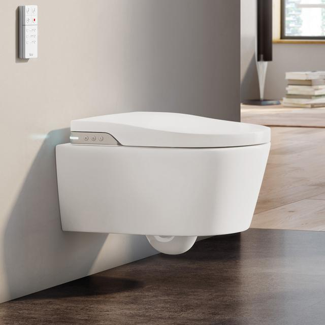 Roca Inspira In-Wash shower toilet, with toilet seat water supply above ceramic toilet
