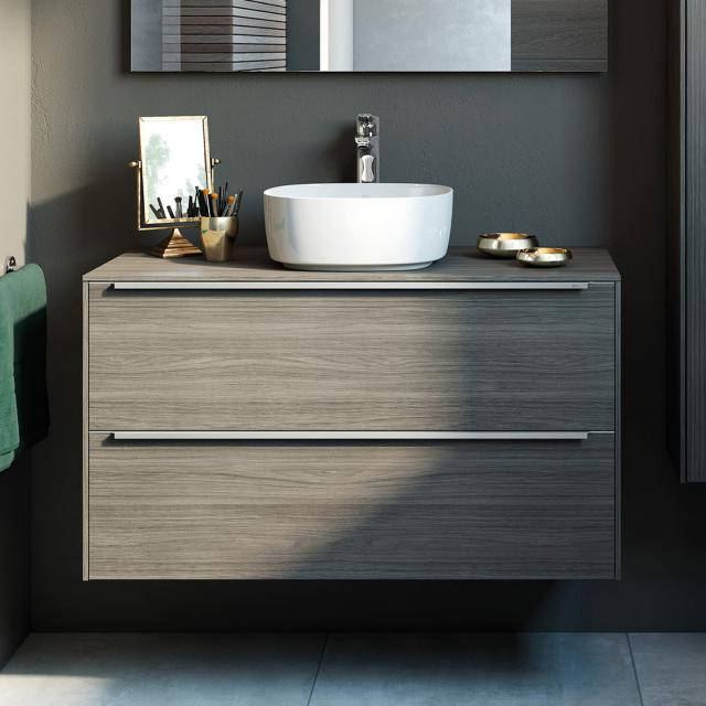 Roca Inspira vanity unit for countertop washbasin with 2 pull-out compartments front city oak / corpus city oak