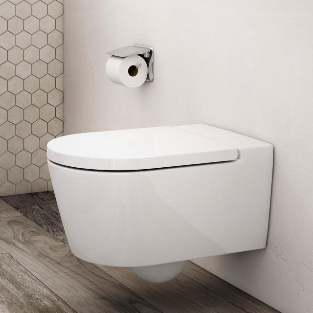 Roca Inspira wall-mounted washdown toilet round with toilet seat white, with MaxiClean