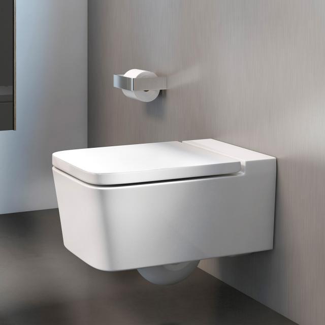 Roca Inspira wall-mounted washdown toilet square with toilet seat white