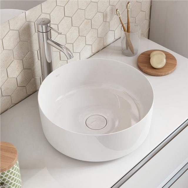 Roca Inspira washbowl, round white, with MaxiClean