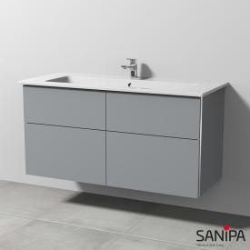 Sanipa 3way ceramic washbasin Venticello incl. vanity unit with 4 pull-out compartments front stone grey/corpus stone grey, with handle strip