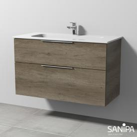Sanipa 3way designer washbasin incl. vanity unit with 2 pull-out compartments front nebraska oak/corpus nebraska oak, with handle