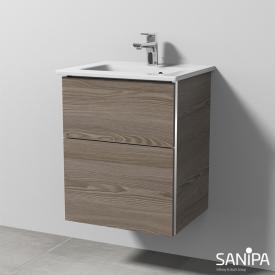 Sanipa 3way washbasin Venticello vanity unit with 2 pull-out compartments front pine grey/corpus pine grey, with handle strip