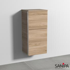 Sanipa 3way medium unit with 1 door and 1 pull-out compartment front elm natural touch/corpus elm natural touch, with handle strip