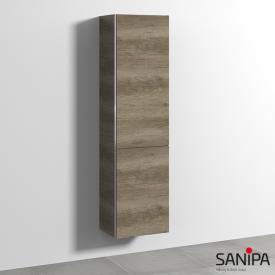 Sanipa 3way tall unit with 1 door and 1 laundry basket front nebraska oak/corpus nebraska oak, with handle strip