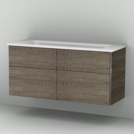Sanipa 3way vanity unit with 4 pull-out compartments incl. mineral cast double washbasin front nebraska oak / corpus nebraska oak / WB white