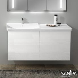 Sanipa 3way vanity unit with 4 pull-out compartments for P3 Comforts front white gloss / corpus white gloss