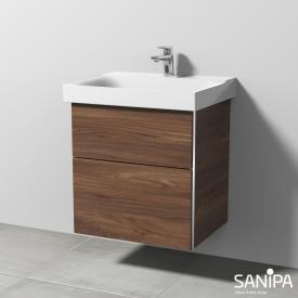 Sanipa 3way vanity unit with 2 pull-out compartments for Xeno² front cherry natural touch / corpus cherry natural touch