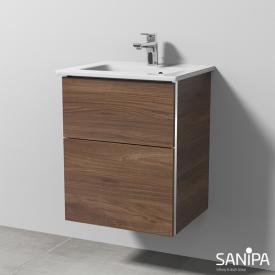 Sanipa 3way vanity unit with 2 pull-out compartments for hand washbasin Venticello front cherry natural touch / corpus cherry natural touch