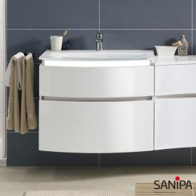 Sanipa CurveBay vanity unit with 2 pull-out compartments front white gloss / corpus white gloss, with lighting
