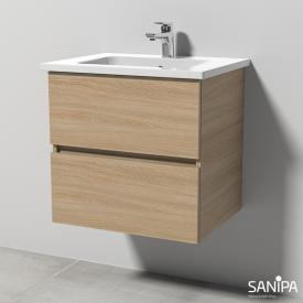 Sanipa Solo One Euphoria washbasin with vanity unit with 2 pull-out compartments front impresso elm / corpus impresso elm