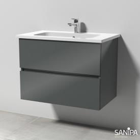 Sanipa Solo One Euphoria ceramic washbasin with vanity unit with 2 pull-out compartments front anthracite gloss / corpus anthracite gloss