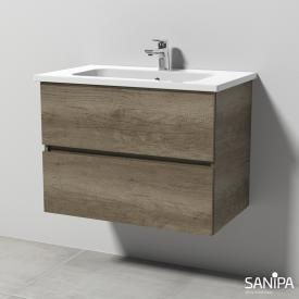 Sanipa Solo One Euphoria ceramic washbasin with vanity unit with 2 pull-out compartments front nebraska oak / corpus nebraska oak