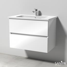Sanipa Solo One Euphoria ceramic washbasin with vanity unit with 2 pull-out compartments front white gloss / corpus white gloss