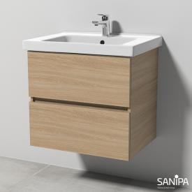 Sanipa Solo One Harmonia ceramic washbasin with vanity unit with 2 pull-out compartments front impresso elm / corpus impresso elm