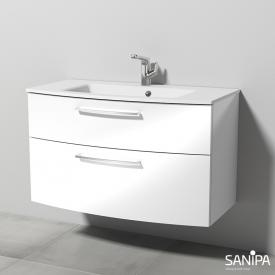 Sanipa Solo One Round Krita Stone washbasin with vanity unit with 2 pull-out compartments front white high gloss / corpus white high gloss