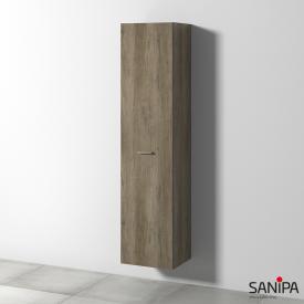Sanipa Solo One Round tall unit with 1 door front nebraska oak / corpus nebraska oak