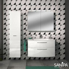 Sanipa Solo One Round washbasin with vanity unit with 2 pull-out compartments front white high gloss / corpus white high gloss