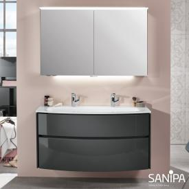 Sanipa TwigaGlas glass washbasin with vanity unit with 2 pull-out compartments front anthracite gloss / corpus anthracite gloss