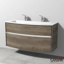 Sanipa TwigaGlas glass washbasin with vanity unit with 2 pull-out compartments front nebraska oak / corpus nebraska oak