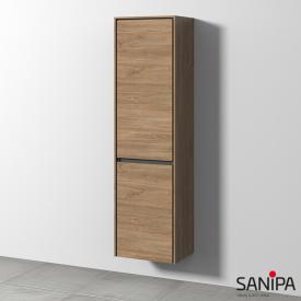 Sanipa TwigaGlas tall unit with 1 door and 1 laundry basket front kansas oak / corpus kansas oak
