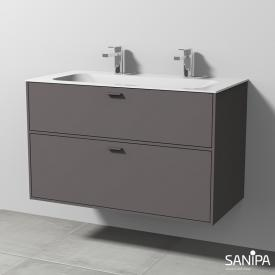 Sanipa Vindo Finion washbasin with vanity unit with 2 pull-out compartments front matt pebble / corpus matt pebble, handles matt pebble, with 2 tap holes, without overflow