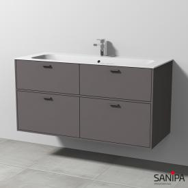 Sanipa Vindo Finion washbasin with vanity unit with 4 pull-out compartments front matt pebble / corpus matt pebble, handles matt pebble, with 1 tap hole, with overflow