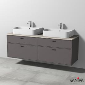 Sanipa Vindo Finion washbasins with vanity unit with 4 pull-out compartments front matt pebble / corpus matt pebble, handles matt pebble