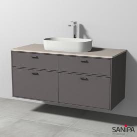 Sanipa Vindo Krita Stone washbasin with vanity unit with 4 pull-out compartments front matt pebble / corpus matt pebble, handles matt pebble
